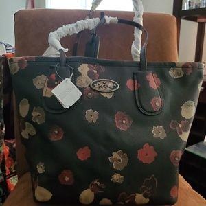 Coach Floral Embossed Textured Leather  Taxi Tote